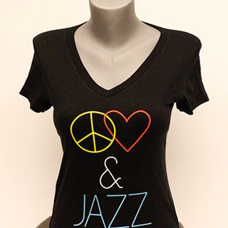 "Black ""Peace, Love & Jazz"" Shirt"
