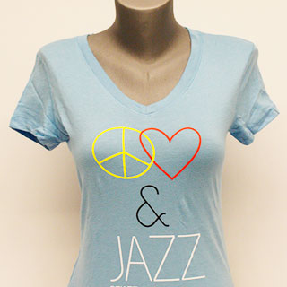 "Blue ""Peace, Love & Jazz"" Shirt"